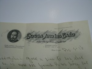 John Philip Sousa and His Band Letterhead Billhead 1916 Detail Company Formation