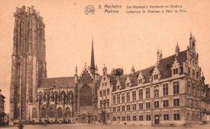 Cathedrale St Rombaut et Hotel de Ville,Malines,Belgium BIN