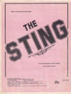 The Sting Entertainer Scott Joplin Rare 1970s South African Sheet Music