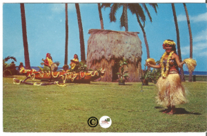 Old Postcard, Tahitian Dancer at Kodak Hula Show Hawaiian Dancers Color Card