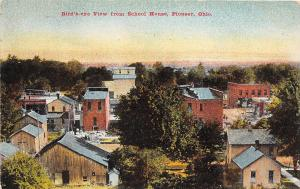 E17/ Pioneer Ohio Postcard c1910 Birdseye View from School House Stores Homes