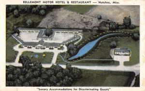 Natchez Mississippi Bellemont Motor Hotel Birdseye View Antique Postcard K431614