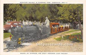 Janesville, Wisconsin, WI, USA Postcard Miniature Railway in Riverside Park U...
