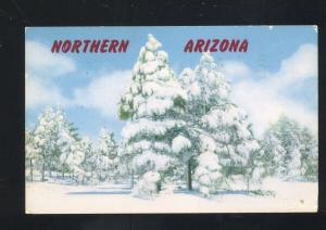 ROUTE 66 NORTHERN ARIZONA WINTER SNOW FLAGSTAFF ARIZ. VINTAGE POSTCARD
