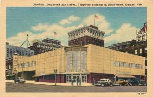 Omaha NE Overland Art Deco Greyhound Bus Station~Telephone Bldg Behind 1948
