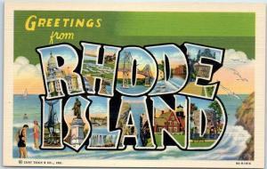 RHODE ISLAND Large Letter Postcard Beach Scene Curteich Linen c1940s Unused