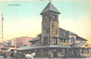 Lowell MA B&M Railroad Station Train Depot Horse & Wagon Postcard
