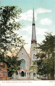 St Paul Minnesota~Steeple of 1st Baptist Church Reaches Trees~c1908 Postcard pc