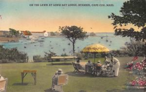 Lawn at Lewis Bay Lodge, Hyannis, Cape Cod, MA, Hand Colored Postcard, Unused