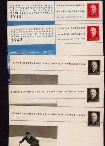 Czechoslovakia Lot 5 Postal Cards Zimne Sletove Hry Vysokych 1948 Czech Republic
