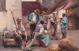 Farmers Harvestmans Harvester PayDay Salary Painting Postcard