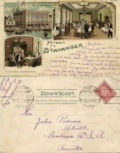 norway norge, STAVANGER, Hotel Victoria, Interior (1908) Litho Postcard