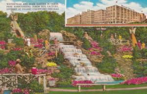 CHICAGO, Illinois, 1940-60s; Waterfalls and Rock Garden in Olson Park Surroun...