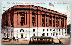 Los Angeles California~New Post Office & Federal Building~Trolley in Front~1911