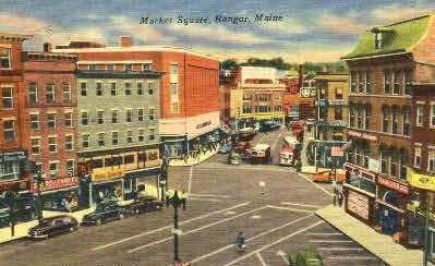 Market Square Bangor ME Postal Used Unknown