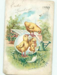 Pre-Linen Easter ANTIQUE WATERING CAN BEHIND CUTE CHICKS AB3797