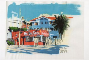 Santa Monica Hot Dog Sausage Cafe Stick Restaurant Painting Postcard