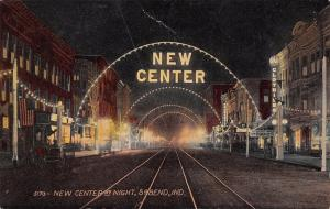 South Bend Indiana~New Center Night Lights~Clothier~Piano Sale~1913 Postcard