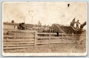 Farmers on Reeves Threshing Machine~Pitch Hay~Steam Tractor~1915 RPPC