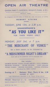 As You Like It Shakespeare Regents Park Open Air Theatre Flyer Handbill
