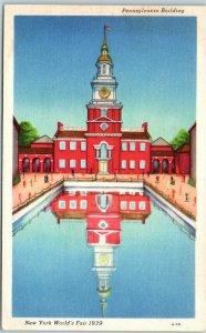1939 New York WF Postcard Pennsylvania Building Independence Hall Replica