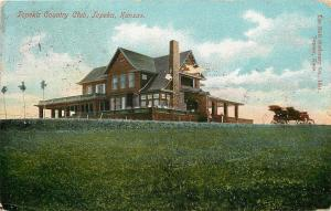 Topeka Kansas~Country Club on Hill~Horseless Carriage~1910 Postcard