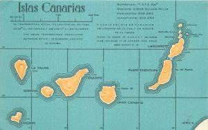 Spain Islas Canarias Canary Islands embossed map old postcard