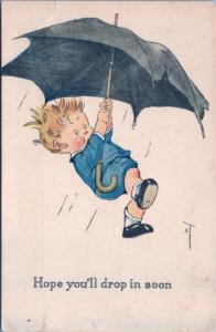 'Hope You'll Drop in Soon' Boy Umbrella Comic Charles Twelvetrees Postcard D40