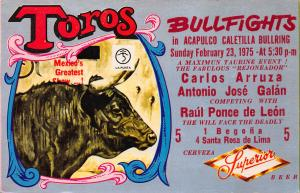 Mexico, Bullfights in Acapulco Caletilla Bullring, Advertising Postcard, Unused
