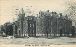 Indianapolis~Shortridge High School Building~1907 B&W Postcard