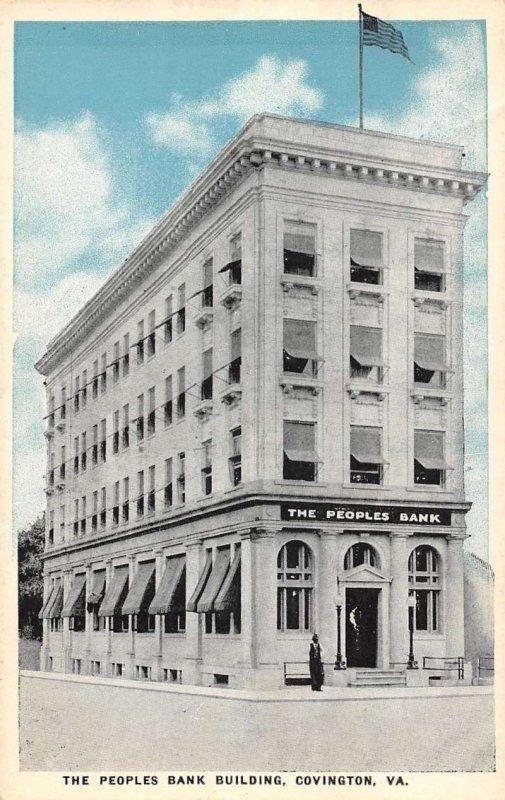 Covington Virginia street scene People Bank Building antique pc BB1014