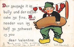 A3/ Valentine's Day Love Postcard 1906 Ithaca NY Sausage Dutch Coffee Cake 16