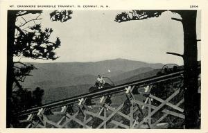 North Conway New Hampshire~Mt Cranmore Skimobile Tramway Going Up~1940s B&W