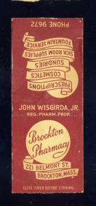 Brockton, Massachusetts/Mass/MA Matchcover, Brocton Pharmacy