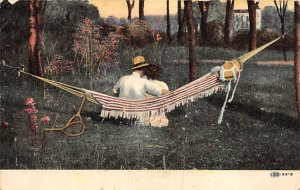 Tennis Post Card A Silent Confession Man Woman in Hammock, Tennis Rackets 1908