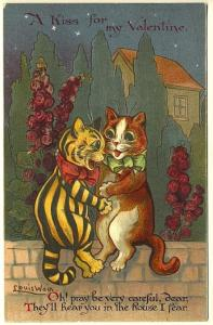 Louis Wain Cats on Stone Wall Valentine Poem Signed Vintage Nister Postcard