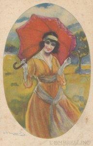 Art Deco ; BOMPARD ; Woman w/ red umbrella , 1910-20s