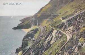 Bray Cliff Walk Mountain Tops Paths Antique Aerial Irish Ireland Postcard