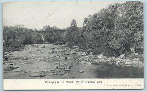 Postcard DE Wilmington Delaware Brandywine Park River Bridge 1911 F28