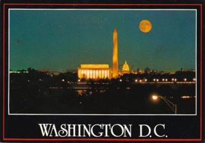 Washington D C The Lincoln Memorial Capitol & Washington Monument At Night