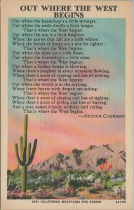 California mountains and desert vintage postcard, Arthur Chapman