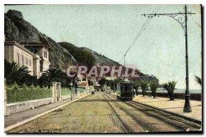 Old Postcard Menton Quai St Louis Tramway