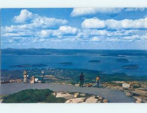 Pre-1980 PEOPLE AT SCENIC OVERLOOK Bar Harbor Maine ME F4475