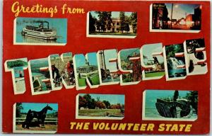 TENNESSEE Large Letter Postcard The Volunteer State Dexter Chrome 1967 Cancel