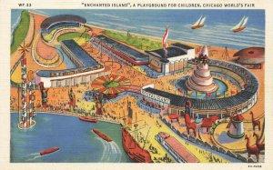 Chicago IL World's Fair Enchanted Island Aerial View Linen Postcard