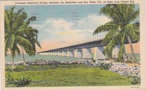 Florida Keys Overseas Highway Bridge At Pigeon Key 1941 Curteich