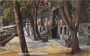 Mount Lowe California~Ye Alpine Inn Entrance~Train behind Tree~Benches~c1910 Pc