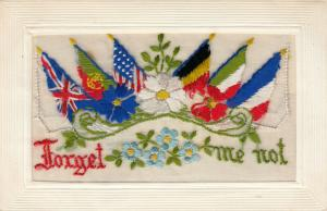 Hand Sewn, 1900-10s; Forget me not, flowers & flags, Insert