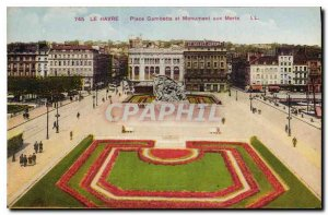 Old Postcard Le Havre Place Gambetta and War Memorial