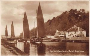 INVERNESS SCOTLAND UK SAILBOATS ON THE CALEDON CANAL~MACKAY & SON POSTCARD 1920s